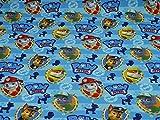 Paw Patrol Nano Softshell Stoff Hundeköpfe, blau (25cm x