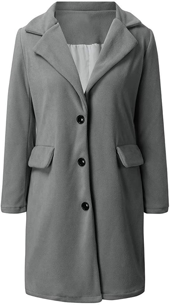 Damen Herbst Winter Jacke Lässige Outwear Parka Cardigan Schlank Mantel Frauen Elegant Solid Knopf Unten Langram Revers Künstliche Wollmantel Trenchcoat Exquisit Windjacke Grau