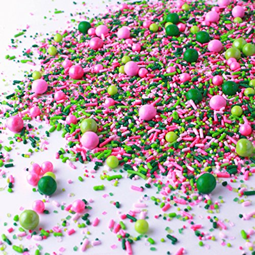 Killarney Rose Sprinkles| White Pink Green Lime Ladies Sorority Colorful Candy Sprinkles Mix For Baking Edible Cake Decorations Cupcake Toppers Cookie Decorating Ice Cream Toppings, 2OZ(sample size)
