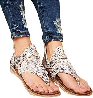 KIACIYA Sandalias Planas Mujer,Casual Leopardo Sandalias Zapatos de Verano Sandalias Mujeres Peep Toe Encaje up Impresión Clip Toe Sandalias Planas Playa (shewen,38 EU)