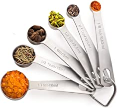 Noosa Life | Measuring Spoons | Heavy Duty Stainless Steel | Set of 6 | Dry and Liquid Ingredients | Durable and Dishwasher Safe | Premium 304 Stainless Steel - Thick and Strong - Will Not Rust | Metric and US Measurements - Complete Kitchen Set