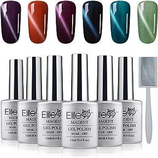 Elite99 Magnetic 3D Cat Eye Gel Nail Polish Gift Kit UV LED Soak Off Gek Lacquer Manicure Nail Art 6 Colors 12ML + Free Magnet Sticks C004