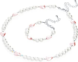 Elegant White Simulated Pearl Heart Beads Infant Girl Necklace and Bracelet Gift Set (GSH_WP_All)