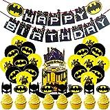 Hilloly 45 Pièces Ensemble de Fourniture pour Fête, Batman Jeu de Décorations de Fête, Super-héros Bannière de Joyeux Anniversaire, des Ballons et des Décorations de Gâteaux Baby Shower