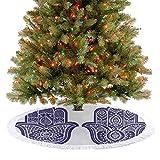 Homesonne Falda de árbol de Navidad de lujo con dos figuras de Fátima con adornos de moda antigua, d...