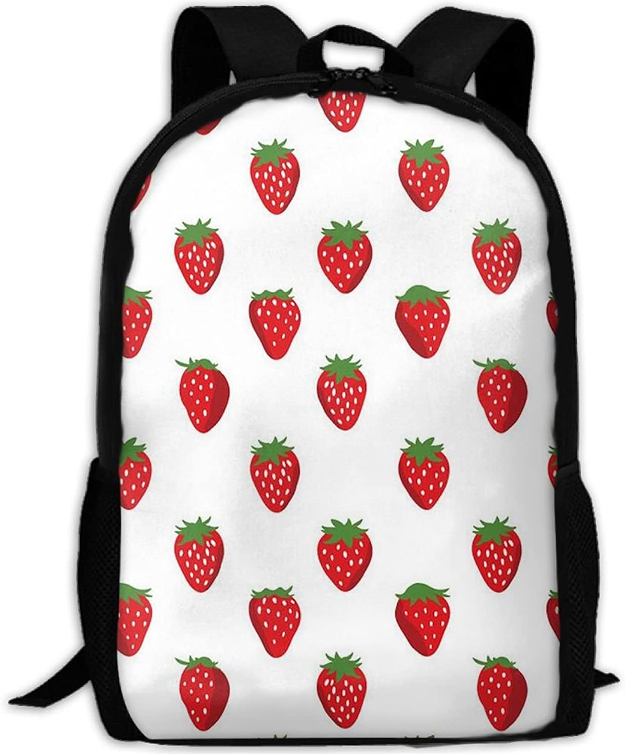 Adult Backpack Fresh Strawberry College Daypack Oxford Bag Unisex Business Travel Sports Bag with Adjustable Strap