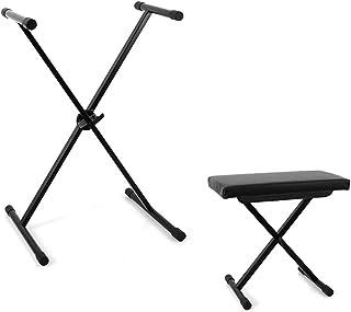 Malone Set Banco para teclado y soporte piano (accesorio música, metálico, altura regulable, taburete, bench)