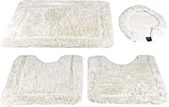 Cannon Acrylic Bath Mat 4 Pcs Set Plain, White