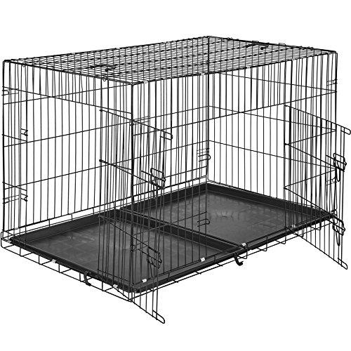 TecTake 800515 Hundekäfig Transportbox | 2 große Türen mit Riegeln | Zusammenklappbar - Verschiedene Größen (122 x 76 x 81 cm | Nr. 402297)