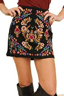 Umgee That's My Girl! Mandy + Ally's Heavily Embroidered Mini Skirt