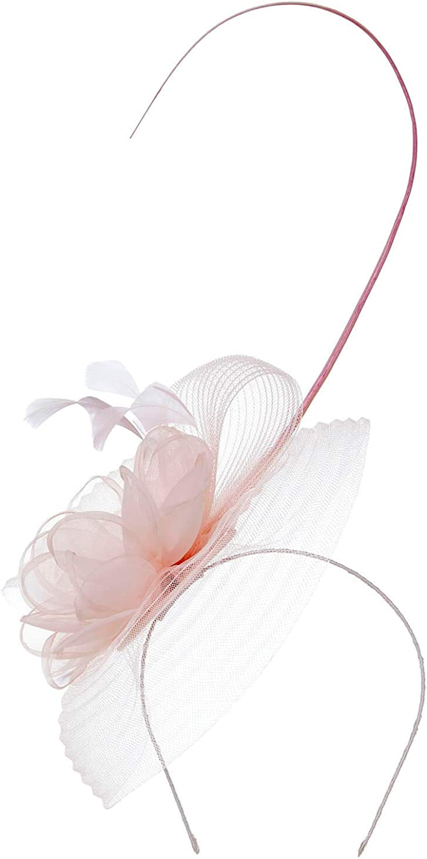 Roman Originals Women Fascinator Floral Feather Hat