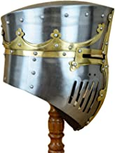 Deepeeka 13th Century Great Pot Helm with Brass Crown and Cross - SNH2263PL16