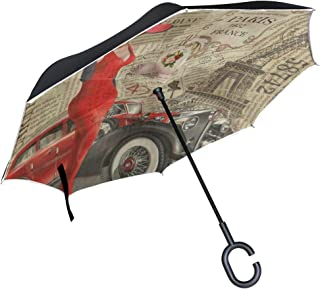 Inverted Umbrella Vintage Eiffel Tower Car Double Layer Reverse Umbrella for Car Windproof UV Protection Big Straight with C-Shaped Handle