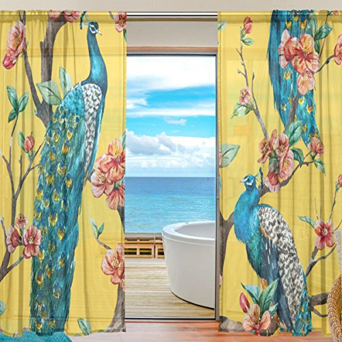 SEULIFE Window Sheer Curtain Tropical Flower Animal Peacock Tree Voile Curtain Drapes for Door Kitchen Living Room Bedroom 55x84 inches 2 Panels