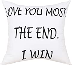 Best BLEUM CADE Love You Most The End I Win Decorative Throw Pillow Case Cushion Cover Pillowcase Reviews