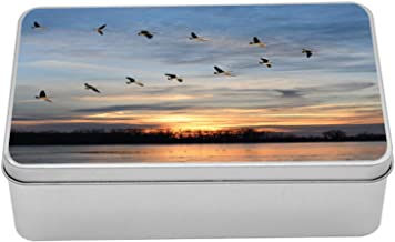 Lunarable Flying Birds Tin Box, V Geese in The Sky Over Frozen Lake with a Sunset, Portable Rectangle Metal Organizer Storage Box with Lid, 7.2