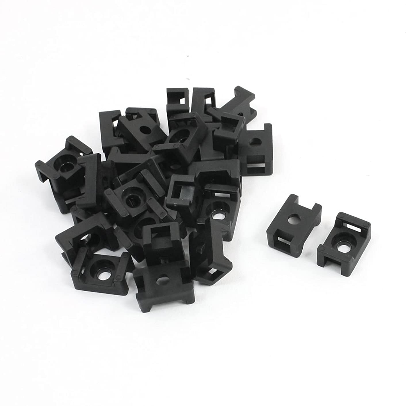 Uxcell Plastic Mounting Wire Cable Tie Holder, 5.5mm Width, 30 Pcs, Black