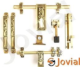 Jovial 1025 Door Fittings Kit, Door Accessories Kit, Door Kit Set (1 Aldrop, 1 Latch, 2 Handles, 1 Tower Bolt and 1 Door Stopper, Finish : Antique Brass) (1025)
