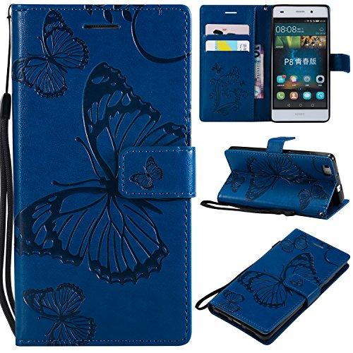 WindTeco Funda Huawei P8 Lite, Mariposa Patrón Funda Piel Libro Shock-Absorción Carcasa Cartera Flip Billetera con Soporte y Ranuras de Tarjeta para Huawei P8 Lite 5.0 Inch (2015), Azul