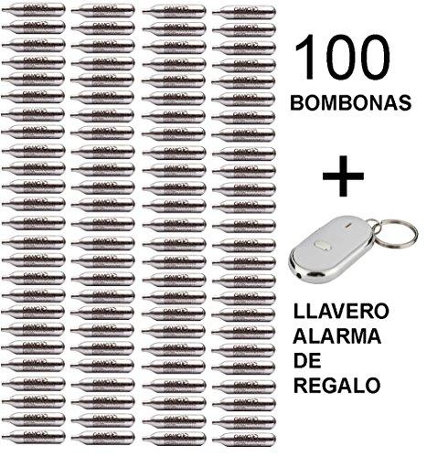 Outletdelocio. 100 bombonas co2 12gr. Umarex/Gamo/ASG para Pistolas y carabinas + Llavero Alarma de Regalo
