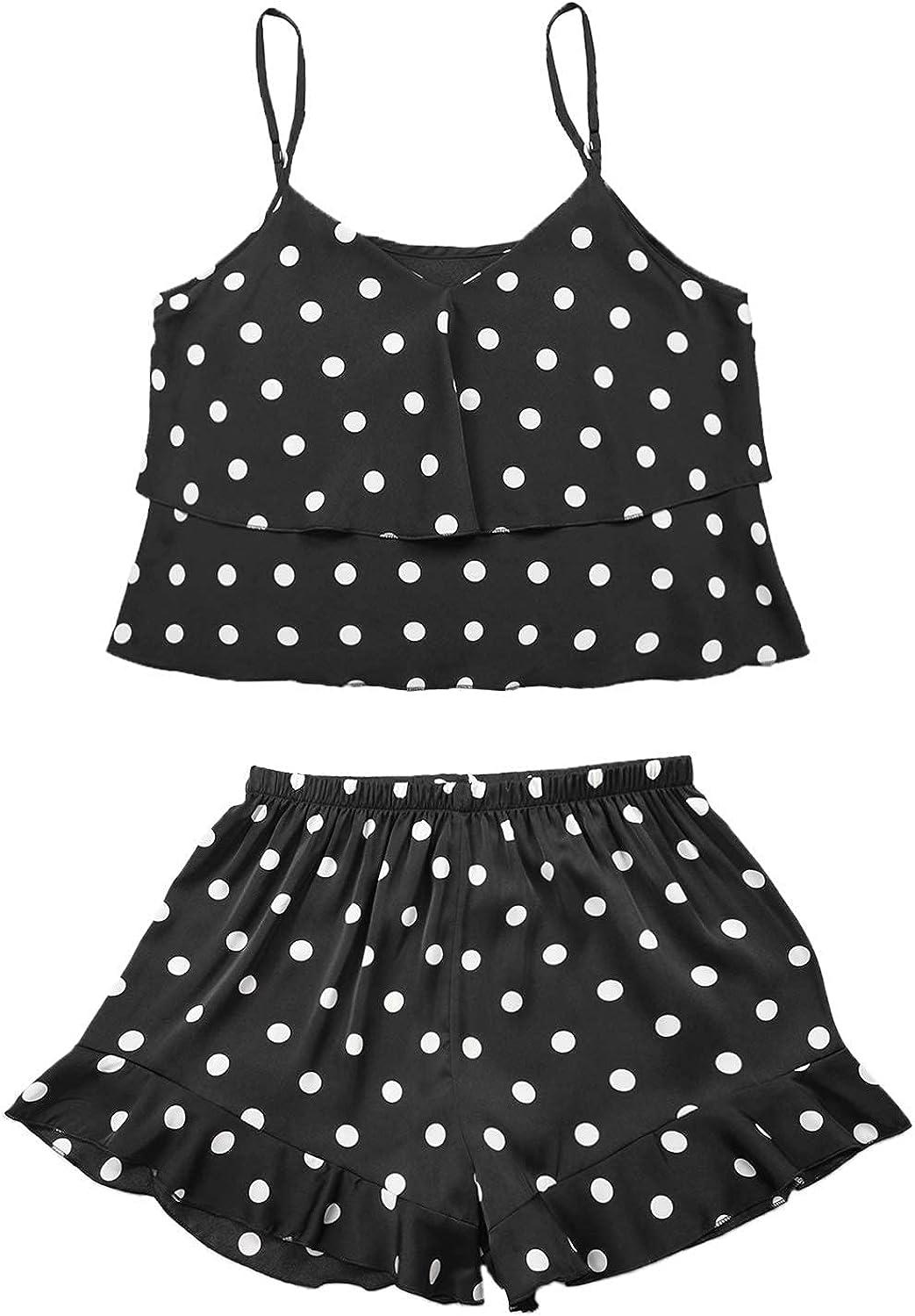 ninovino Women's Sexy Lingerie Pajamas Set Cami Shorts with Polka Dot Lounge Sleepwear Nightwear