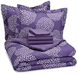 AmazonBasics 7-Piece Light-Weight Microfiber Bed-In-A-Bag Comforter Bedding Set - Full or Queen, Purple Floral