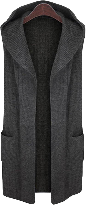 CLJJ7 Women's Open Front Midlong Hooded Knit Cardigan Sweater Vest