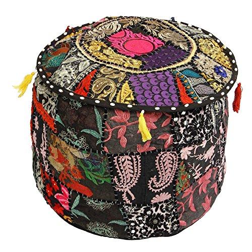 indischer Wohnkultur Sitzpuff, Hocker Ottomane Boho böhmische Baumwolle Vintage Patchwork Stickerei Fußhocker (nur Abdeckung)