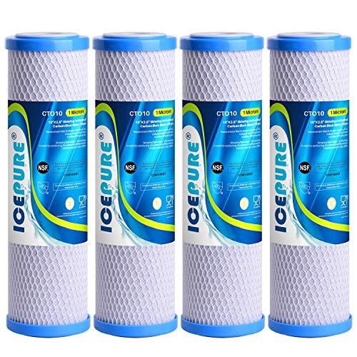 """ICEPURE 1 Micron 2.5"""" x 10"""" Whole House CTO Carbon Sediment Water Filter Cartridge Compatible with Dupont WFPFC8002, WFPFC9001, SCWH-5, WHCF-WHWC, WHCF-WHWC, FXWTC, CBC-10, RO Unit, Pack of 4"""