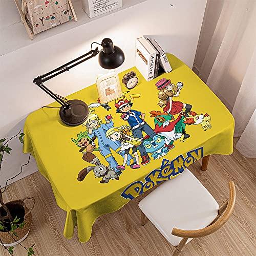 Nappe de Table PVC Plastique Lavable à l'eau,Nappe Rectangulaire Imperméable Antitache Entretien Facile,pour Table à Manger Picnic Cuisine(Pokémon,120x160cm)