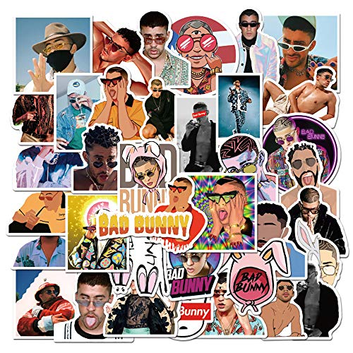 Bad Bunny Stickers| 50 Pcs | Larger Vinyl Waterproof Stickers for Laptop,Bumper,Water Bottles,Computer,Phone,Hard hat,Car Stickers and Decals,Bad Bunny Stickers for Hydro( Bad bunny-50)