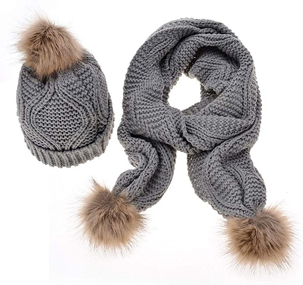 Dreamskull Women Winter Warm Braided Cable Knit Beanie Hat Scarf Two-Piece Set
