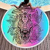Charzee - Toalla de playa para mujer, ultraligera, moderna, redonda, alfombra para el tiempo libre, hecha a mano, 150 x 150 cm, poliéster, blanco, 150 cm