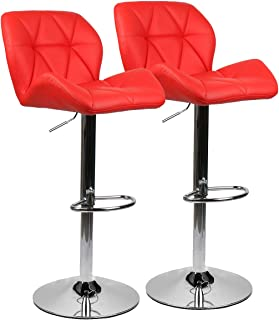 PULUOMIS Set of 2, Bar Stools Modern Hydraulic Adjustable Swivel Barstools, Leather Padded with Back, Dinning Chair with Chrome Base, Red…