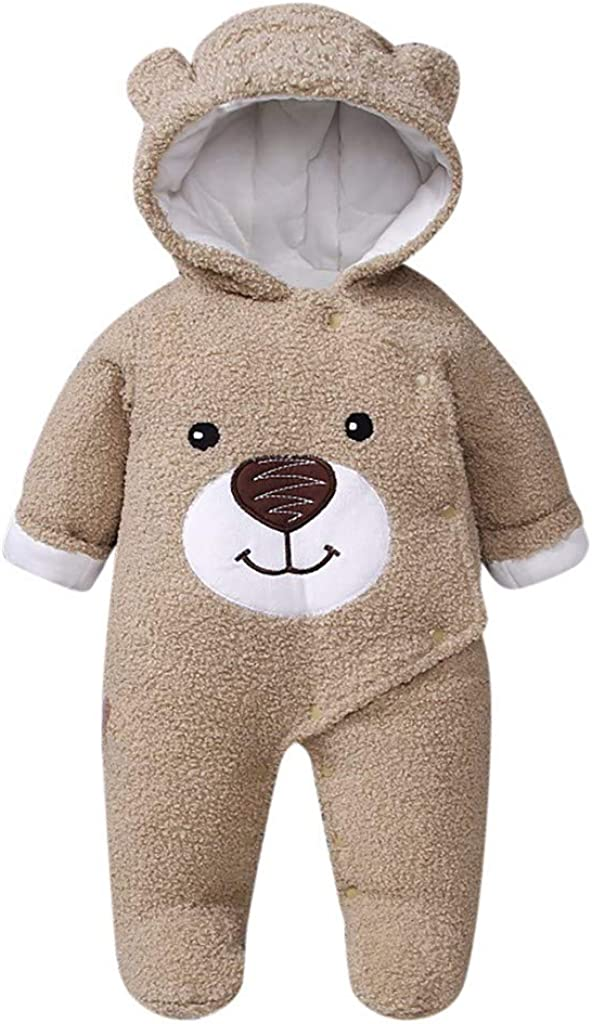 MALLOOM Baby Girls Hoodie Coat Infant Boys Bear Winter Zip Thick Snowsuit Jumpsuit Multicolor,0-12 Months