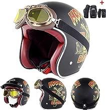 Open Face Biker Motorcycle Motorbike Chopper Helmet 3/4 Cruiser Custom Cafe Racer Crash Shell Helmet Four Seasons Breathable DOT Approval,XXL