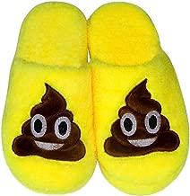 Divertente Cacca Faccia Sorridente LUOEM Pantofole Peluche Ciabatte Invernali Pantofole da Casa Morbide Calde Antiscivolo Donna Uomo 28.5cm