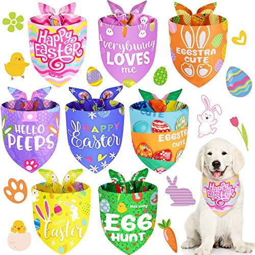 8 Bandanas de Mascotas de Pascua Bandanas de Perros de Conejito Baberos de Tringulo de Huevo de Colores Pauelo Adorable de Pascua Babero Lavable para Disfraz Happy Easter, 8 Estilos