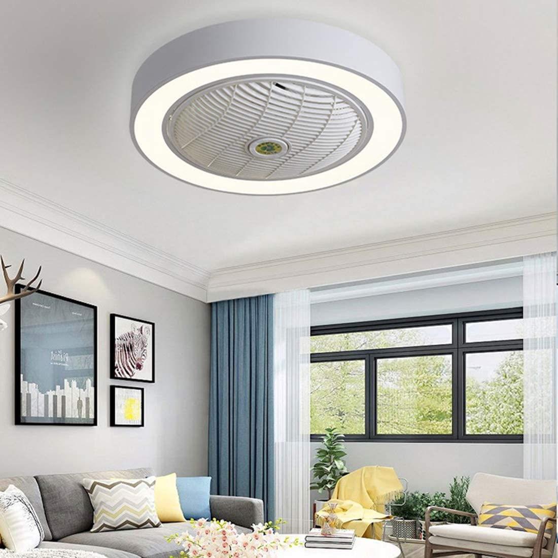 Spring new work Jinweite Ceiling 5 popular Fan with Light 22 LED inches Remote Control Fu