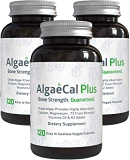 AlgaeCal Plus – Plant-Based Calcium Supplement with Magnesium, Boron, Vitamin K2 + D3 | Increases Bone Strength | All Natural Ingredients | Highly Absorbable | 120 Veggie Capsules per Bottle (3 Pack)
