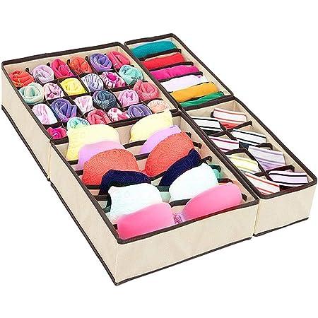 Jorlyen Lot de 4 boîtes de rangement pliables en tissu pour vêtements de maison, sous-vêtements, soutiens-gorge, chaussettes, cravates, écharpes