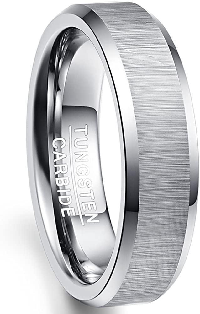 NUNCAD Unique Selling and selling 6mm Nippon regular agency Tungsten Carbide Ring Brushed Finish f Beveled