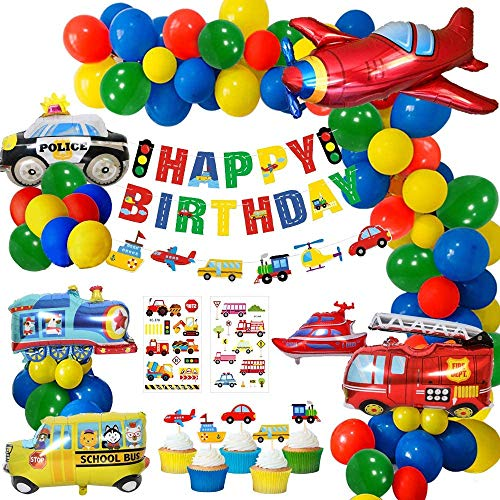 Yansion Construction Party Decorations Boys, Happy Birthday Banner Transport Vehicles Foil Balloons Plane Train Police Car School Bus Yacht Fire Truck Cake Toppers for Dump Truck Party Boys, Baby Shower, Boys 1st Birthday