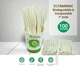 Ecomaniac: Eco friendly Knife | Compostable Knife | Disposable Knife |Biodegradable Knife | 7 inches [100 Pcs]