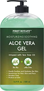 Aloe vera gel from 100 percent Pure Aloe Infused with Tea Tree Oil - Natural Raw Moisturizer for Hand Sanitizing Gel, Skin...