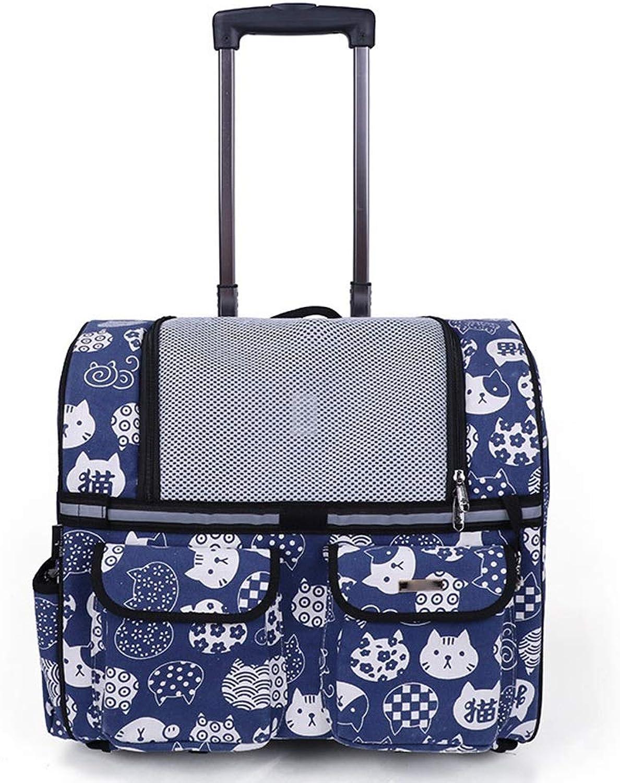 Backpacks Pulley Carrying Pet Bag Handbag Folding Dog Bag, Portable Cat Bag Dogs (color   E bluee, Size   One Size)