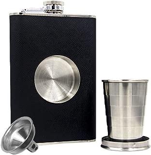 JUJOR Shot Flask 8 oz., Built-in Collapsible 2 oz. Shot Glass & Funnel Set