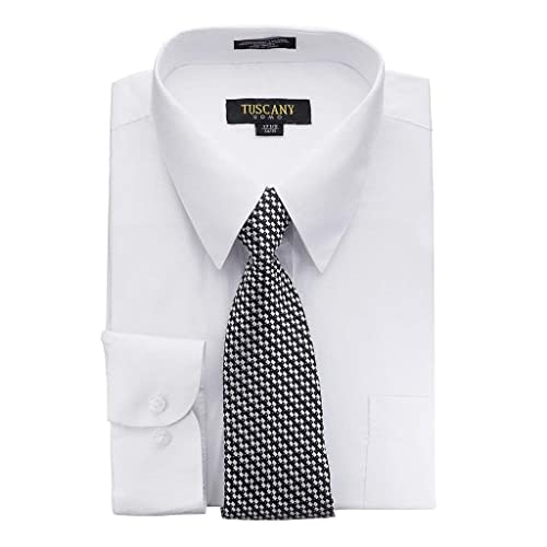 96c0c3e9 Men's Solid Long Sleeve Dress Shirt Tie Combo Set Random Tie