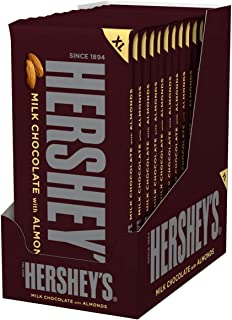 HERSHEY'S Chocolate Candy Bars with Almonds, 4.2 Ounce (Pack of 12)
