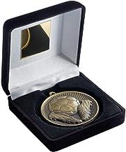 """Lapal Dimension Zwarte fluwelen doos en 60mm medaille voetbaltrofee - antiek zilver - 4"""""""